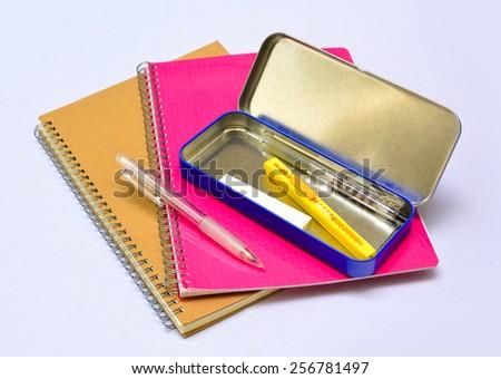 School stationery isolated . - stock photo