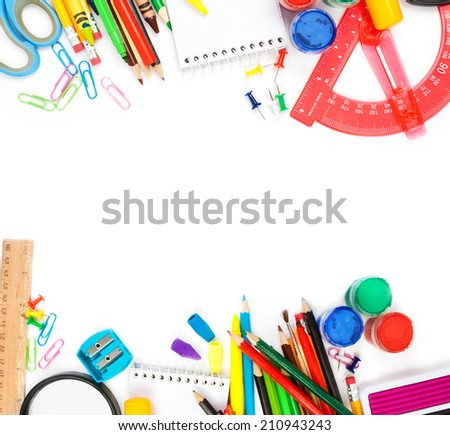 School stationery isolated over white background - stock photo
