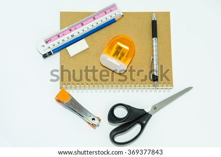 School stationery isolated over white with - stock photo