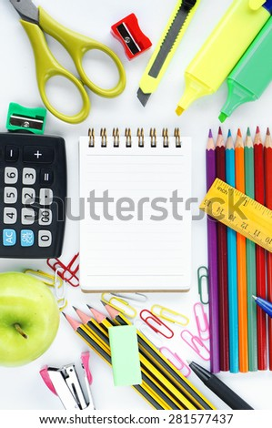 School stationery on white background - Back to school concept - stock photo