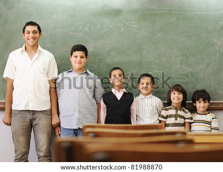 School student generations steps, from preschooler to university - stock photo