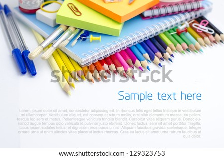 School supplies - background with copyspace - stock photo