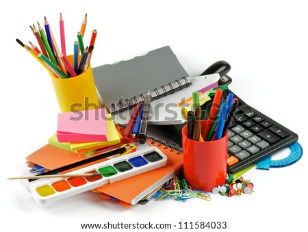 School supplies. Ballpoint Pens, Colored Pencils, Paintbrush, Felt Tip Pens, Pencil Sharpener, Watercolor Paints, Paper Clips, Calculator, Stapler, Ruler, Protractor, Notebooks and Sticky Notes - stock photo