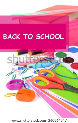 School supplies close up - stock photo