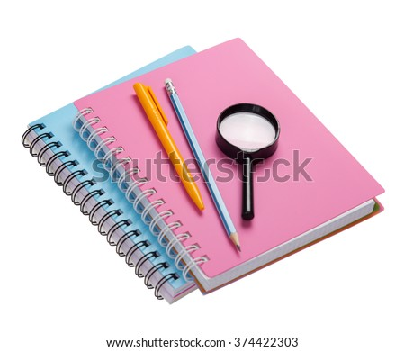 School supplies isolated on white.Stack of student note books copybook accessories.Education objects. - stock photo