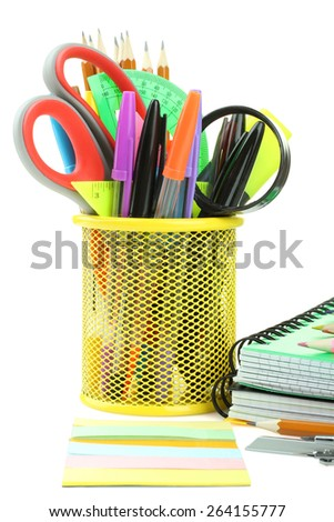 school supplies on a white background isolated - stock photo