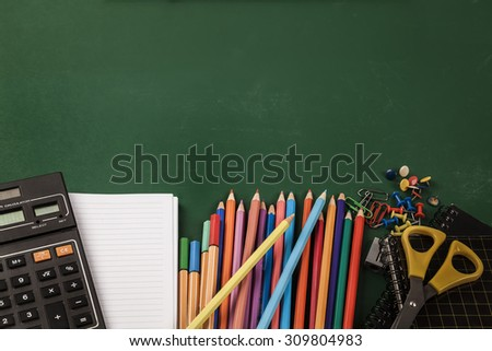 School supplies on green board background. Back to school. School School School School School School School School School School School School School School School School School School School School  - stock photo