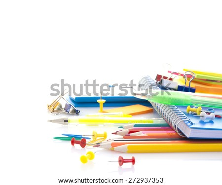 School supplies on white background with copy space - stock photo