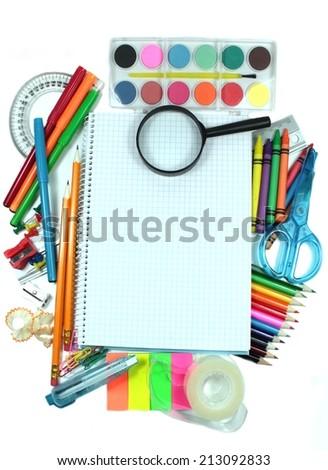 School supply for kids - stock photo