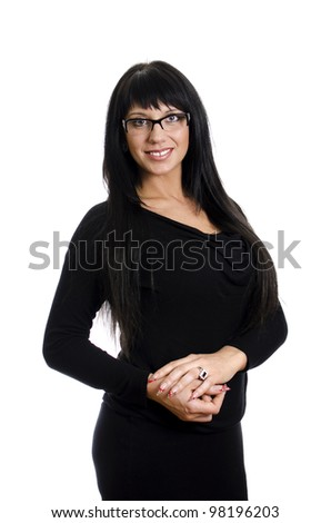 School teacher with glasses. Isolated on white. - stock photo