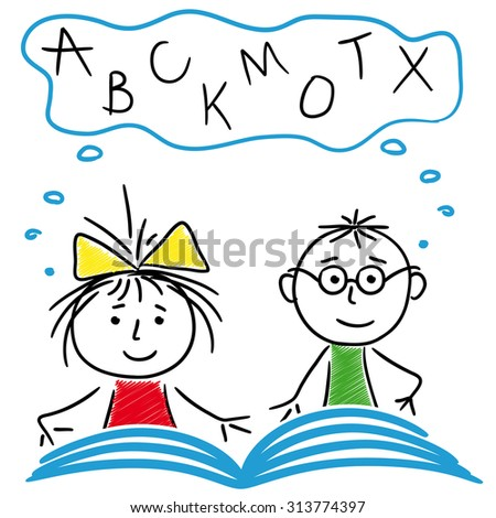 Schoolboy and schoolgirl reading a book together, cartoon sketching illustration - stock photo