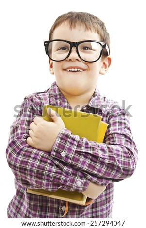 Schoolboy, looking up. Isolated on white background - stock photo