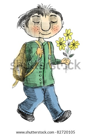 Schoolboy with a bouquet of flowers goes to school on September - stock photo