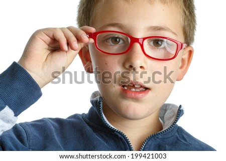Schoolboy with red eyeglasses - stock photo