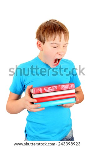 Schoolboy with the Books Yawning Isolated on the White Background - stock photo