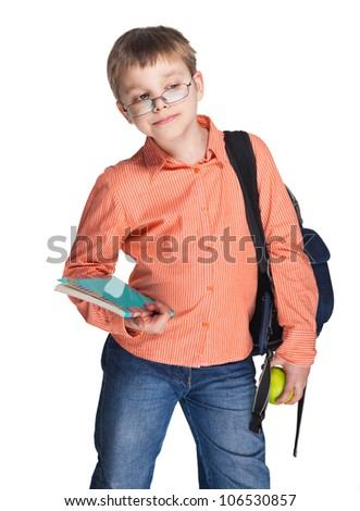 Schoolchild in glasses with apple against white background - stock photo
