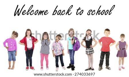 Schoolchildren isolated on white - stock photo