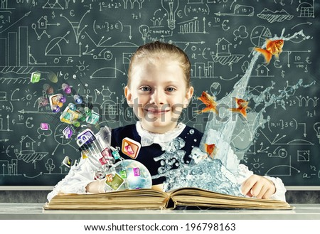 Schoolgirl at lesson with opened book against sketch background - stock photo
