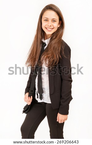 Schoolgirl in school uniform - stock photo