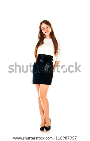 schoolgirl isolated on a white background - stock photo