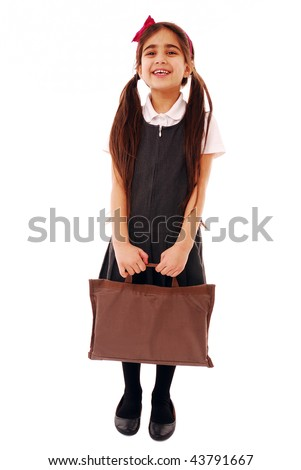 Schoolgirl isolated on white - stock photo