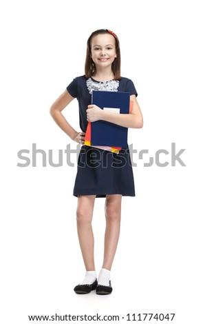 Schoolgirl keeps her books, isolated, white background - stock photo