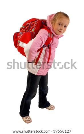 Schoolgirl with backpack - stock photo