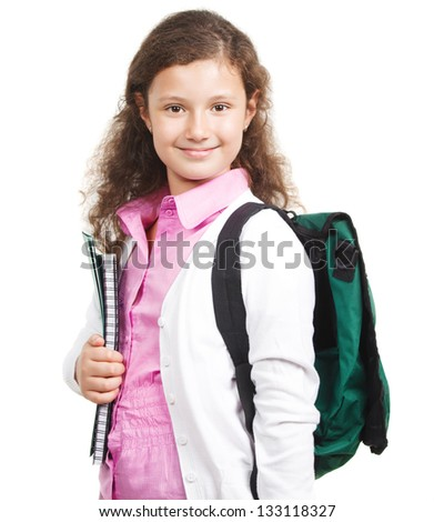 Schoolgirl with backpack isolated on white - stock photo