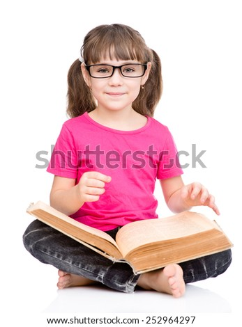schoolgirl with glasses holding big book. isolated on white background - stock photo
