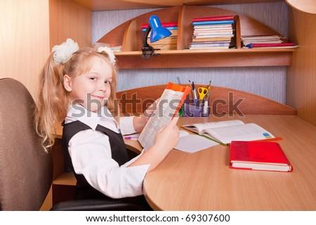 schoolgirl with homework - stock photo