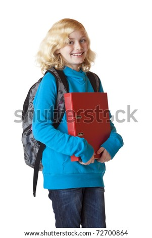 Schoolgirl with rucksack and folder smiles happy. Isolated on white background. - stock photo