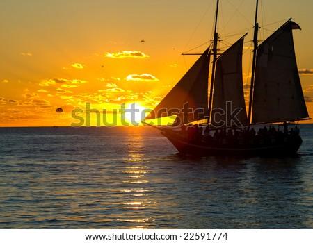 Schooner Wolf in Key West Harbor at Sunset - stock photo