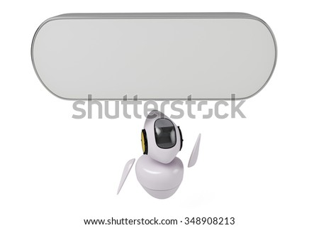 Sci-fi cute robot in the following advertising signs - stock photo