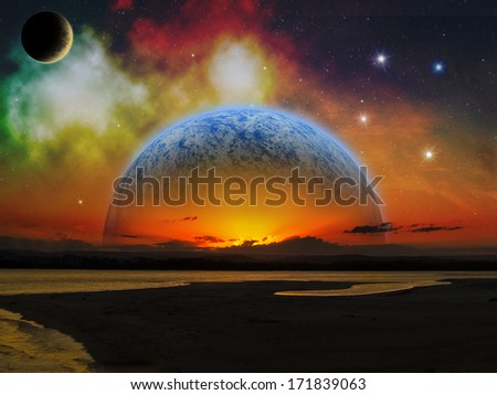 Sci-fi fantasy image of planets rising on an alien world, to a backdrop of a wonderful nebula.  - stock photo
