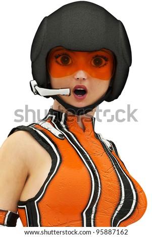 Sci-Fi Girl surprise - stock photo