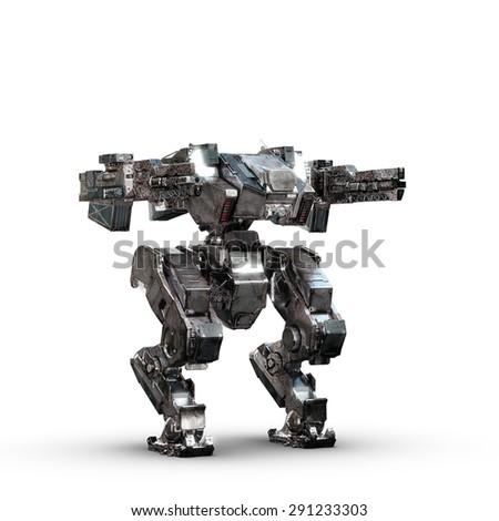 sci fi military dirt metallic robot on white background - stock photo