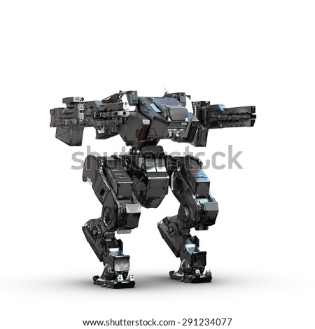 sci fi military metallic robot on white background - stock photo
