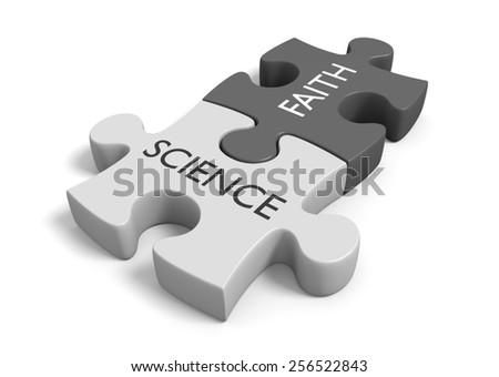 Science and faith, method and mythology - stock photo