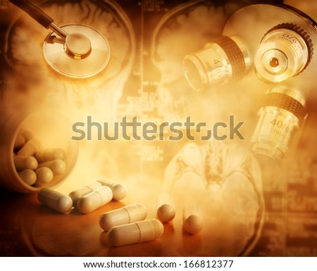 science and medical background - stock photo