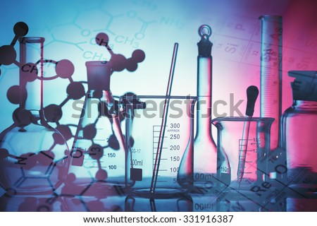 Science and medical background. Laboratory glassware. - stock photo