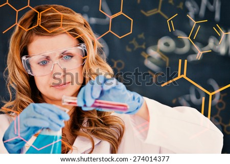 Science and medical graphic against young female scientist carrying out an experiment - stock photo