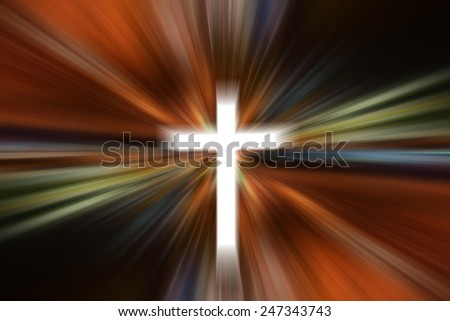 Science and religion. Christian religion. Illustration with cross of christ - stock photo