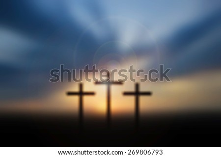 Science and religion. Christian religion. Illustration with cross of christ at sunset blur nature background - stock photo