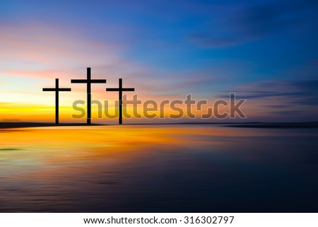 Science and religion. Christian religion.  Illustration with cross of christ at sunset nature background . - stock photo
