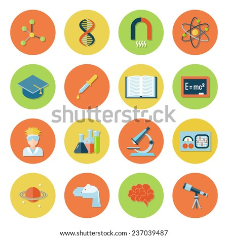 Science and research icon flat set with atom dna magnet molecule isolated  illustration - stock photo