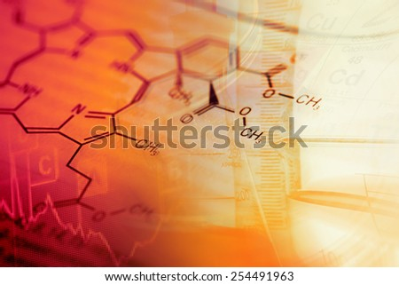 Science background with chemical data and laboratory tools - stock photo