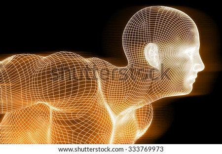 Science Background With Glowing Techno Lines Art - stock photo