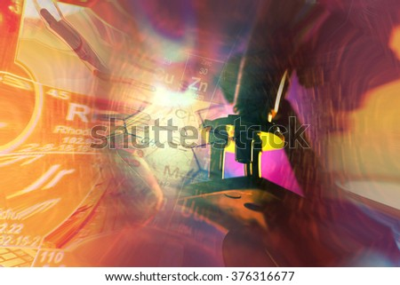 Science background with microscope. Research background. - stock photo