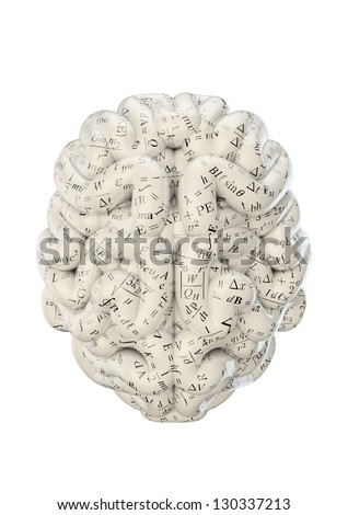 Science brain covered in scientific equations and formulae - stock photo