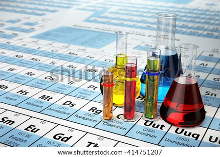 Science chemistry concept. Laboratory test tubes and flasks with colored liquids on the periodic table of elements.  3d illustration - stock photo